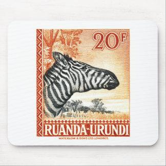 1942 Ruanda Urundi Zebra Postage Stamp Mouse Pad