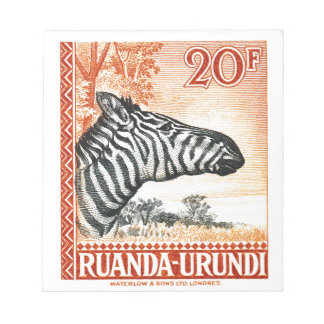 1942 Ruanda Urundi Zebra Postage Stamp Notepad