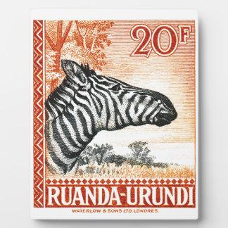 1942 Ruanda Urundi Zebra Postage Stamp Plaque