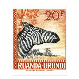 1942 Ruanda Urundi Zebra Postage Stamp Postcard