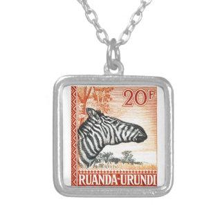 1942 Ruanda Urundi Zebra Postage Stamp Silver Plated Necklace