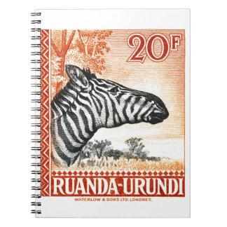 1942 Ruanda Urundi Zebra Postage Stamp Spiral Notebook
