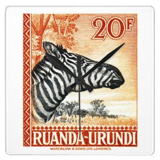 1942 Ruanda Urundi Zebra Postage Stamp Square Wall Clock