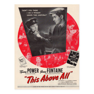 1942 This Above All movie poster Postcard