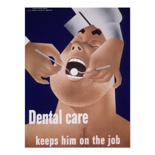1942 Vintage Navy Dental Health Poster