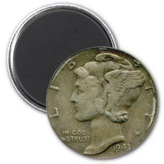 1943 US Mercury dime obverse magnet