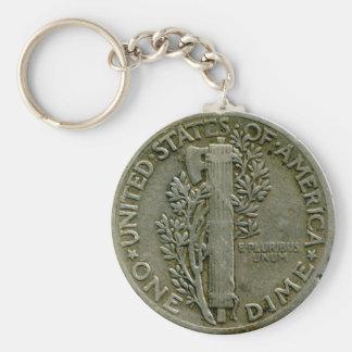 1943 US Mercury dime reverse keychain
