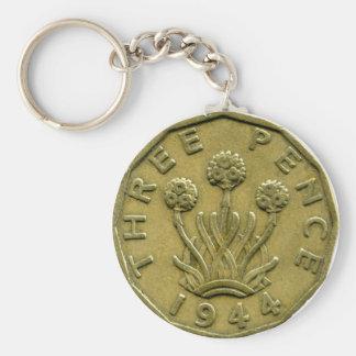 1944 British three pence keychain