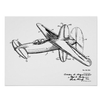 1944 Pusher Airplane Patent Art Drawing Print