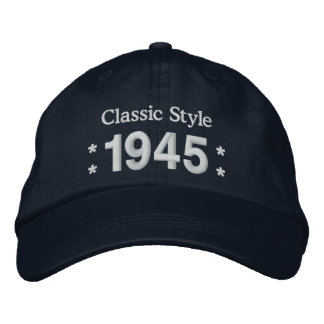 1945 or Any Year 70th Birthday A4 BLACK and WHITE Embroidered Hats