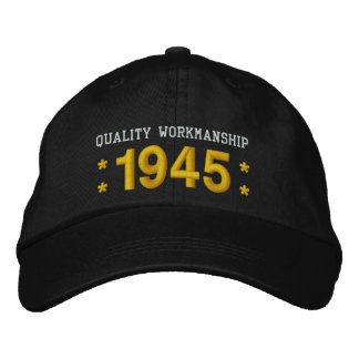 1945 or Any Year 70th Birthday A5 BLACK and GOLD Embroidered Hat