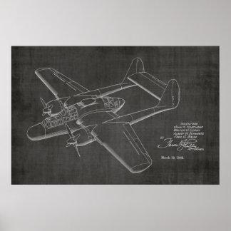 1946 Twin Airplane Patent Art Drawing Print