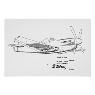 1946 WW2 Airplane Patent Art Drawing Print