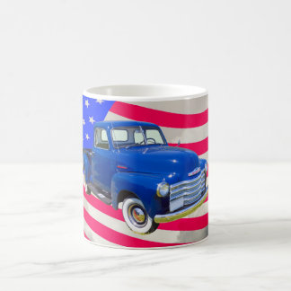 1947 Chevrolet Thriftmaster Pickup With US Flag Coffee Mug