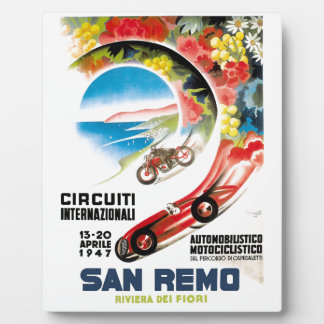 1947 San Remo Grand Prix Race Poster Display Plaque
