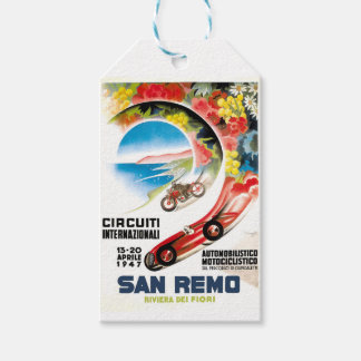 1947 San Remo Grand Prix Race Poster Gift Tags