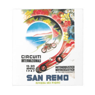 1947 San Remo Grand Prix Race Poster Notepad