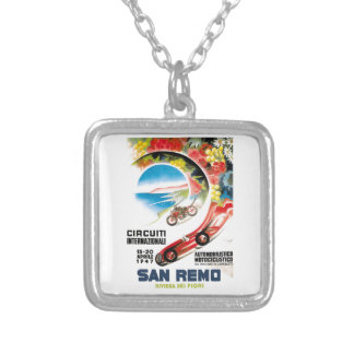 1947 San Remo Grand Prix Race Poster Silver Plated Necklace