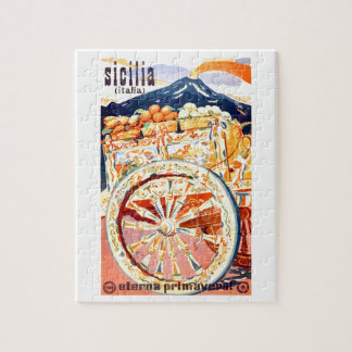 1947 Sicily Italy Travel Poster Eternal Spring Jigsaw Puzzle