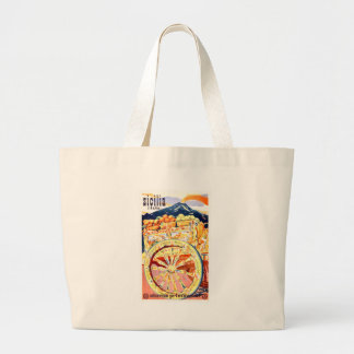 1947 Sicily Italy Travel Poster Eternal Spring Large Tote Bag