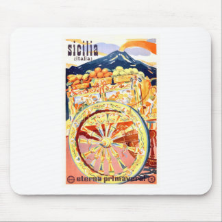 1947 Sicily Italy Travel Poster Eternal Spring Mouse Pad