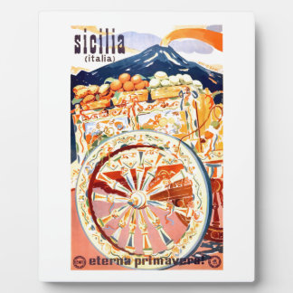 1947 Sicily Italy Travel Poster Eternal Spring Plaque