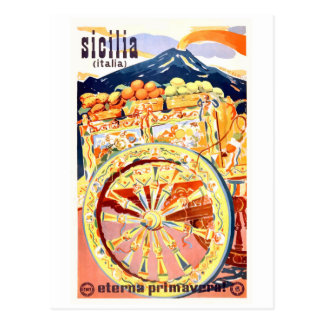 1947 Sicily Italy Travel Poster Eternal Spring Postcard