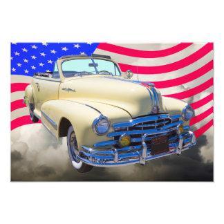 1948 Pontiac Silver Streak And United States Flag Photographic Print