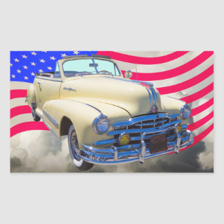 1948 Pontiac Silver Streak And United States Flag Rectangular Sticker
