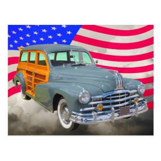 1948 Pontiac Silver Streak Woody And US Flag Postcard