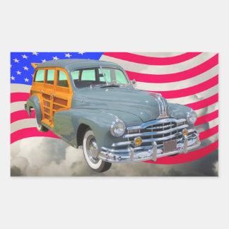 1948 Pontiac Silver Streak Woody And US Flag Rectangular Sticker