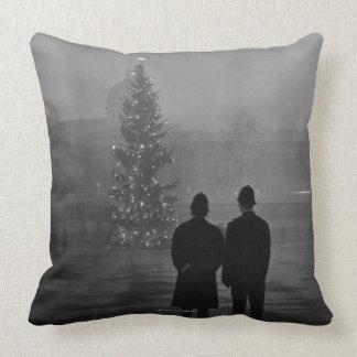 1948: Two policemen regard Christmas Tree Throw Pillow