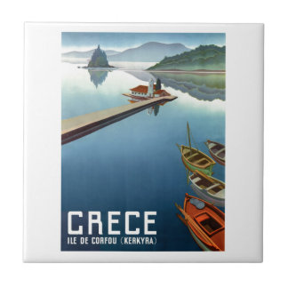1949 Corfu Greece Travel Poster Ceramic Tile