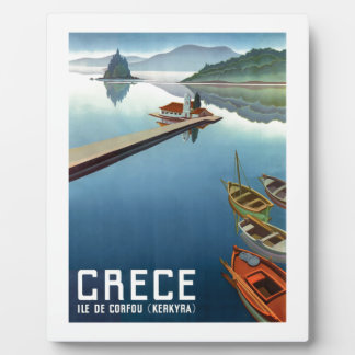 1949 Corfu Greece Travel Poster Plaque