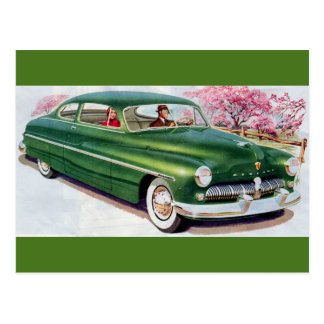 1949 green Mercury sedan Postcard