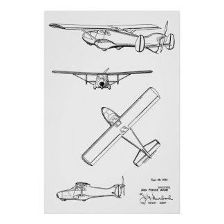 1949 Rear Prop Aeroplane Patent Art Drawing Print