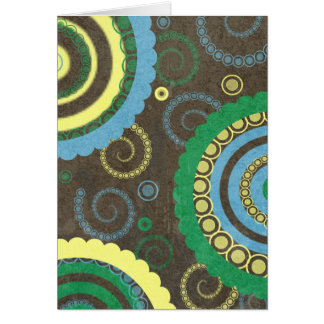 194__retro-circles-paper-pattern YELLOW BROWN BLUE Card