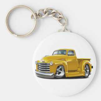 1950-52 Chevy Yellow Truck Basic Round Button Key Ring