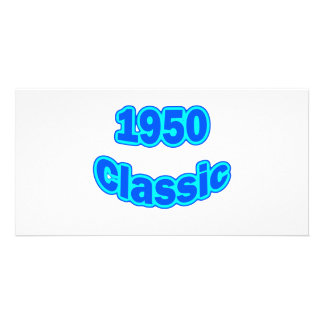 1950 Classic Blue Personalized Photo Card