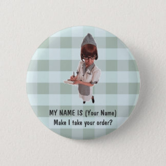 1950 DINER GAL WAITRESS NAME PIN - CUSTOMIZE!