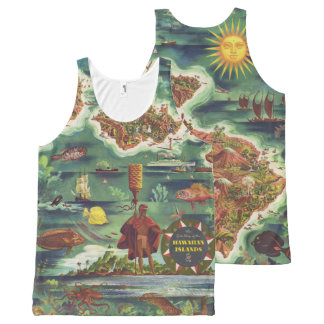 1950 Dole Map of Hawaii Joseph Feher Oil Paint All-Over Print Singlet