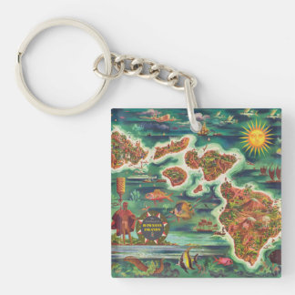 1950 Dole Map of Hawaii Joseph Feher Oil Paint Double-Sided Square Acrylic Key Ring