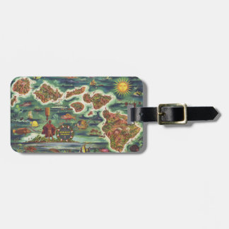 1950 Dole Map of Hawaii Joseph Feher Oil Paint Luggage Tag