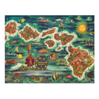 1950 Dole Map of Hawaii Joseph Feher Oil Paint Postcard