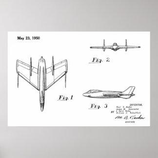 1950 Jet Airplane Patent Drawing Art Print