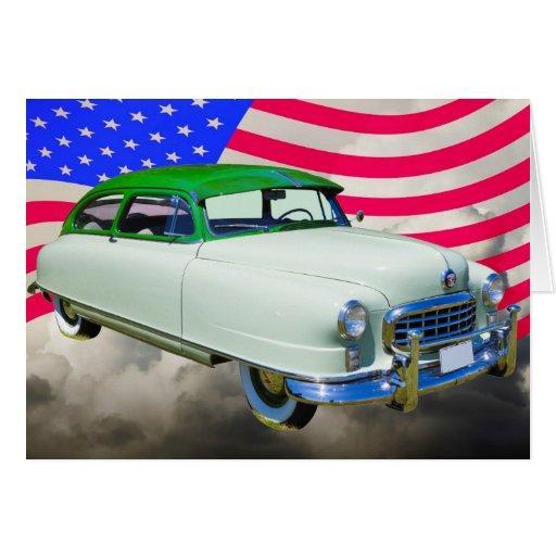 1950 Nash Ambassador Car And American Flag Card