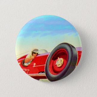 1950 red racing car 6 cm round badge