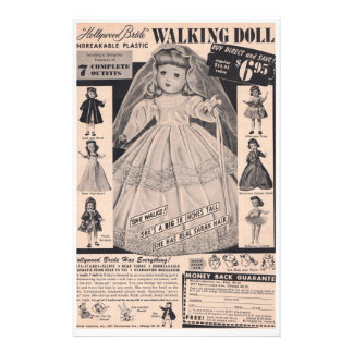 1950 s Doll Hollywood Bride Customized Stationery