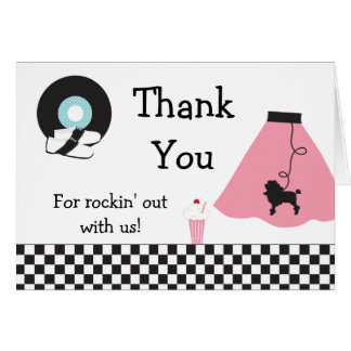 1950 s Retro Party Thank You Card