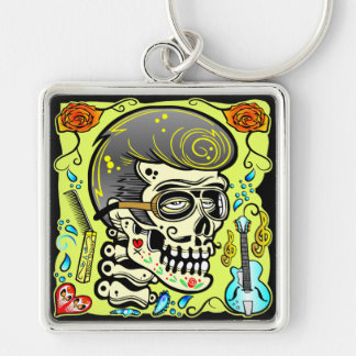 1950's Zombie Rocker Silver-Colored Square Key Ring